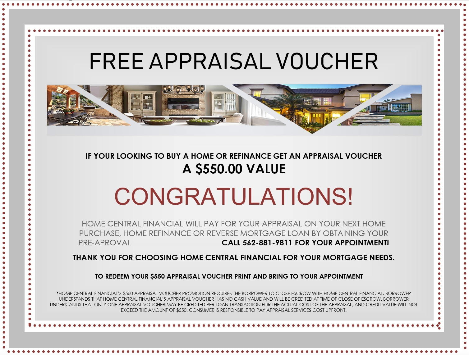 Home Purchase Or Refinance Free 550 Appraisal Voucher Home Central Financial